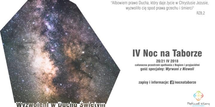 """IV Noc na Taborze """"Wyzwoleni w Duchu Świętym"""" 20-21/04/18"""